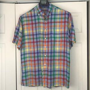 Alan Flusser Rainbow color plaid shirt Large